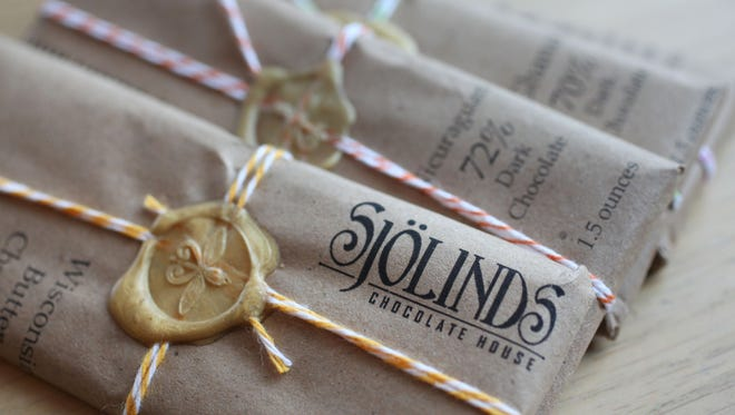 Specially wrapped chocolate bar offerings from Sjolinds Chocolate House are pictured at the Mount Horeb business.