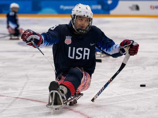 Jack Wallace of Franklin Lakes maneuvers on the ice  during a sled hockey preliminary-round game between the United States of America and the Republic of Korea at the Gangneung Hockey Centre. The Paralympic Winter Games, PyeongChang, South Korea, Tuesday 13th March 2018. Photo: Bob Martin for OIS/IOC. Handout image supplied by OIS/IOC