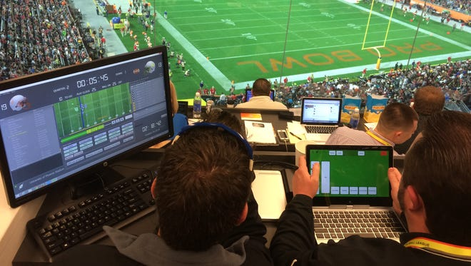 Data collected by tracking devices in game balls is cataloged at the Pro Bowl.