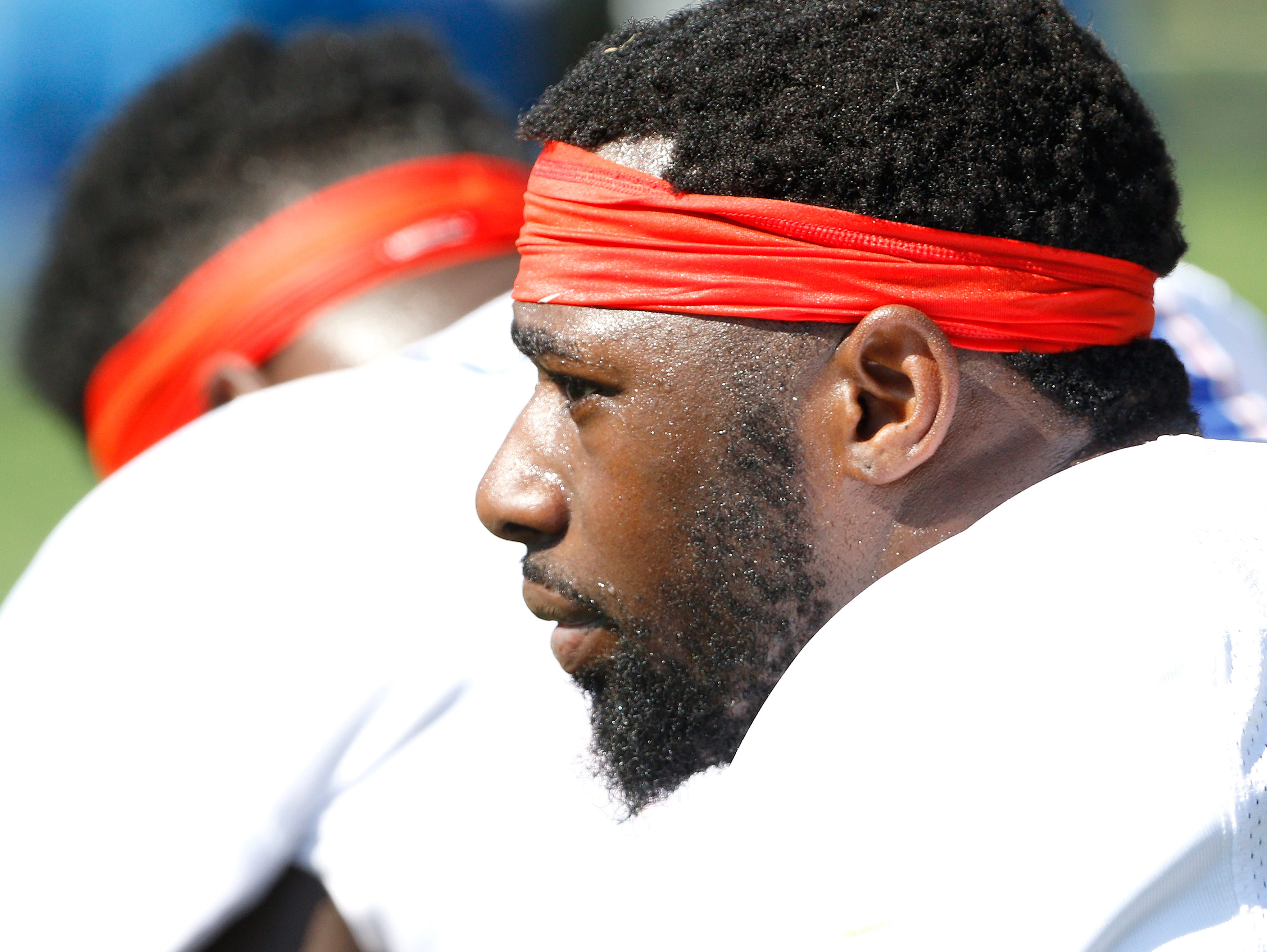 Marcus Maye takes a break during a University of Florida football practice session this spring. Maye will be one of the leaders on the defensive side of the ball this fall.