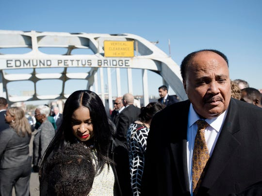 Martin Luther King III stands on the Edmund Pettus Bridge on March 4, 2018, in Selma, Ala., during the Faith and Civil Rights Institute Congressional Civil Rights Pilgrimage.