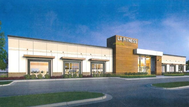 A rendering of the proposed LA Fitness, which could be constructed at the site of the former Farmer Jack on Seven Mile west of Middlebelt.