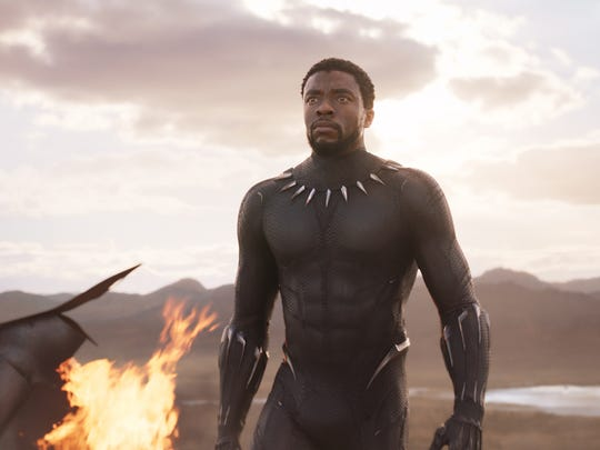 "T'Challa (Chadwick Boseman) fights for his people and his African nation's independence in ""Black Panther."""