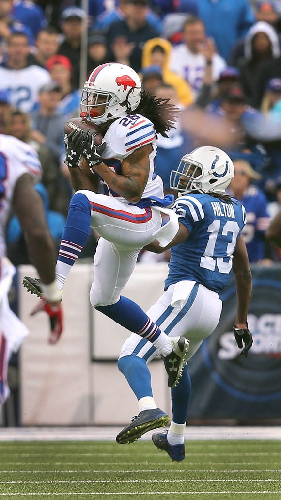 Bills rookie cornerback Ronald Darby comes up with this interception on a pass intended for Colts receiver T.Y. Hilton.  the play set up the Bills first touchdown in a 27-14 win over the colts