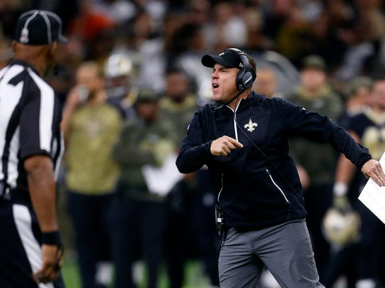 New Orleans Saints head coach Sean Payton yells on the field after a personal foul in the second half of an NFL football game against the Tampa Bay Buccaneers in New Orleans, Sunday, Nov. 5, 2017. (AP Photo/Butch Dill)