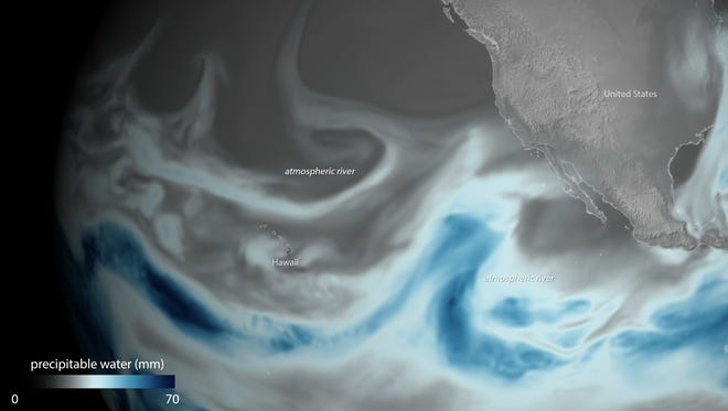 Atmospheric rivers bring moisture from the tropics. This one soared over the Pacific Ocean on Jan. 3.