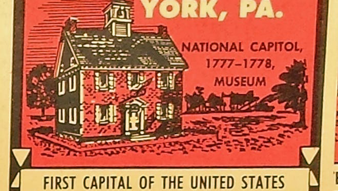 One of 25 stamps issued in 1961 by the Colonial York Tourist Bureau is shown.