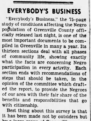 A newspaper clipping from The Greenville News on May 30, 1950.