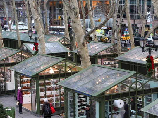 A view of the boutique-style holiday shops at Bryant Park Dec. 11, 2014 in Manhattan.