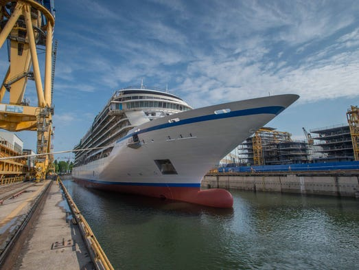 Viking Ocean Cruises' first ship, the 930-passenger Viking Star, takes to the water for the first time at a Fincantieri shipyard near Venice, Italy on June 23, 2014.