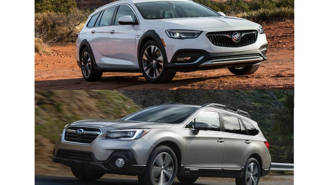 The 2018 Buick Regal TourX, top, a station wagon-based SUV alternative that combines tons of cargo space with a sleek look and a near-luxury feel. The 2018 Subaru Outback, bottom, one of the original SUV alternatives.