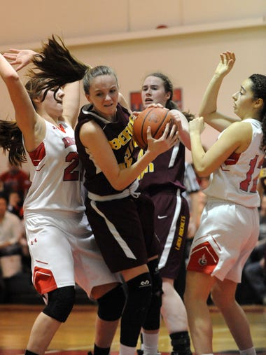 Berne Union's Bella Kline grabs a rebound during Friday