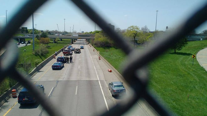 Michigan State Police investigate a shooting the afternoon of May 6, 2016 on I-94 near M-10.