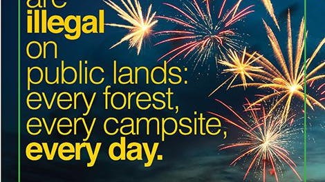 Fireworks are illegal on public lands every forest, every campsite, every day.