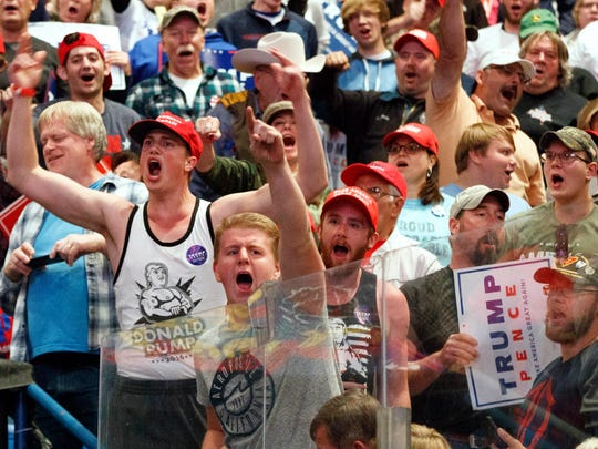 """In this Monday, Oct. 10, 2016 photo, supporters cheer for Republican presidential candidate Donald Trump during a rally in Wilkes-Barre, Pa. Mark DeMoss, a public relations executive and conservative Republican whose clients are mostly Christian religious organizations, says, """"There's plenty of blame to go around on this subject, but I think in this particular election that an embrace of Donald Trump was an embrace of incivility and vulgarity and insults and bullying, and unfortunately we saw very little public repudiation of that from any Trump supporters."""""""