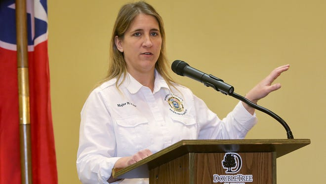 Madison County Sheriff's Office Director of Professional Standards and Accreditation Michelle Mehr speaks about the Aug. 10, 1997 incident in which she was attacked by a man she had pulled over in a traffic stop, during a Jackson Old Hickory Rotary Club meeting at the DoubleTree Hotel on Monday.