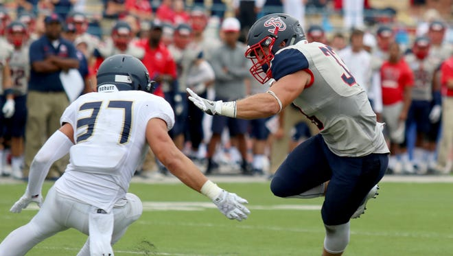 Shippensburg University's Cole Chiappialle (33) cuts around Colton McKay, of Clarion, earlier this season. Chiappialle was the PSAC East Special Teams Player of the Week.