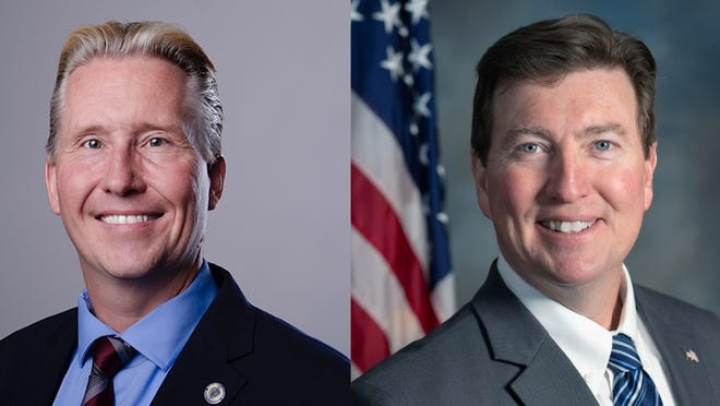 Left, Democrat Patrick McDermott, who is running against Republican Jerry McDermot, right, to become Norfolk County Sheriff.