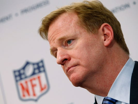 File photo of Roger Goodell, Commissioner of the NFL, speaking at a news conference announcing the Head Health Initiative, a collaboration between GE and the NFL, in New York