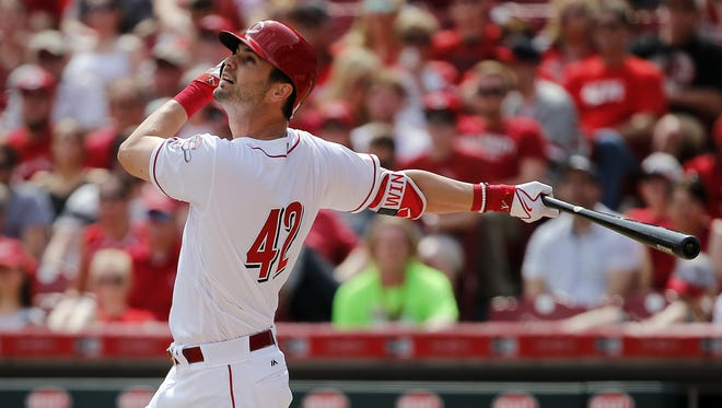 Cincinnati Reds outfielder Jesse Winker hits a two-run double in the sixth inning.