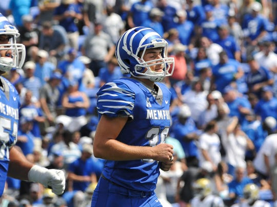 Memphis placekicker Riley Patterson (36) reacts after missing a field goal during the first half against the UCLA Bruins on Sept. 16, 2017, at Liberty Bowl Memorial Stadium.