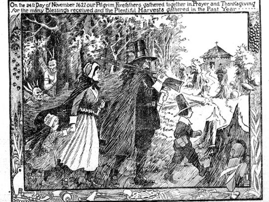A 1921 engraving showing celebrants of that first Thanksgiving