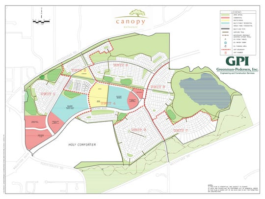 A conceptual map shows what's planned for the Canopy within the Welaunee Development.
