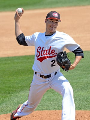 St. Cloud State's Kyle Boser delivers a pitch against Minnesota State-Mankato in an NSIC baseball tournament winner's bracket game Friday at Joe Faber Field. Boser, a sophomore from Little Falls, threw 21/3hitless innings in relief with three strikeouts and one walk in a 6-3 Huskies loss.
