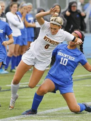 Weymouth high girls soccer captain Drew Dempsey in action versus Braintree on Thursday, Oct. 3, 2019 Greg Derr/The  Patriot Ledger