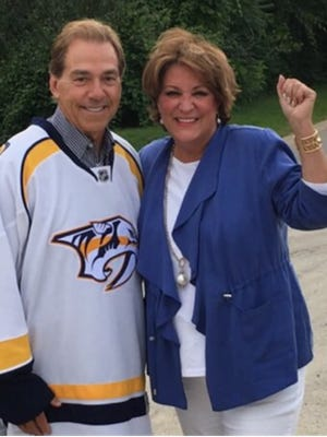 Nick Saban and his wife Terry attended Game 3 of the Predators' Stanley Cup Final against Pittsburgh in Nashville at Bridgestone Arena.