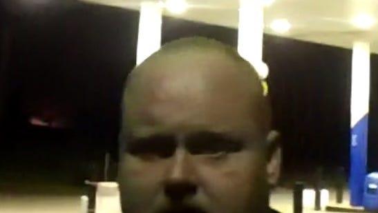 A body cam shot of David P. Vaughn.