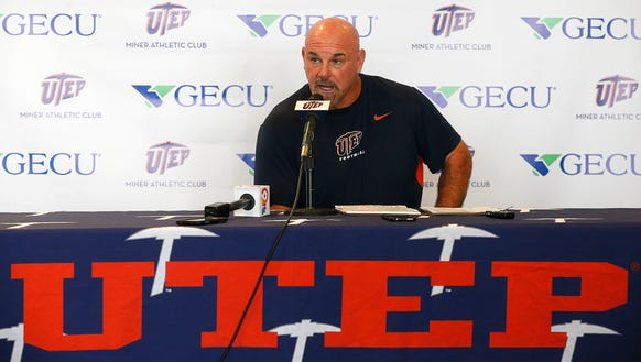 UTEP head coach Sean Kugler and his Miners football