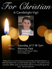 A vigil for Christian Pearson is being held this Saturday