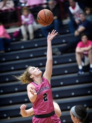 The Dutchmen's Hilary Yoh drives for two after stealing the ball during the 10th Annual Pink Game against Arcadia Wednesday, Feb. 8, 2017 at Sorrentino Gymnasium.