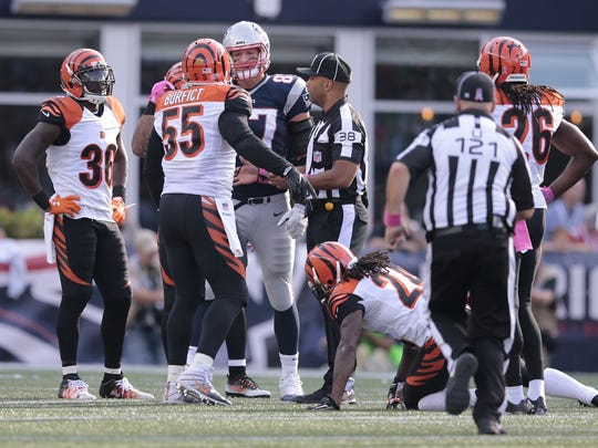 Patriots tight end Rob Gronkowski and Bengals outside linebacker Vontaze Burfict exchange words in the fourth quarter.