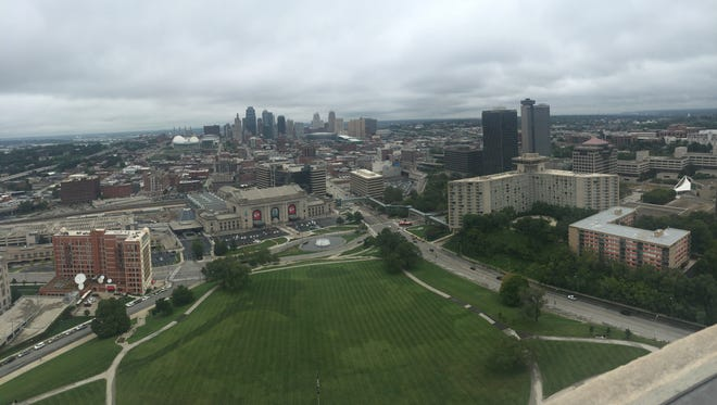 View of Kansas City from the top of the Liberty Memorial in Kansas City, Mo.