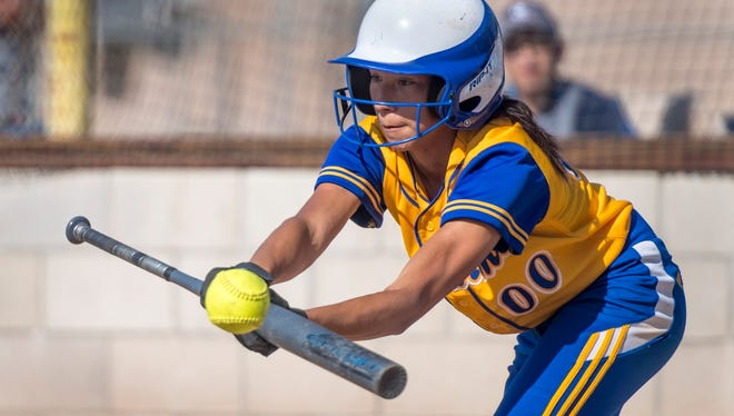 Exeter's Corinne Acosta gets a hit against Washington Union in a Central Section Division IV high school softball quarterfinal game on Friday, May 18, 2018. The hit gave her the Central Section record for most hits in a single season.