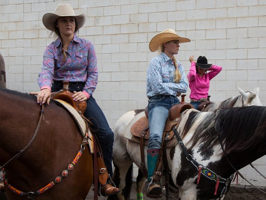 Barrel racers wait on their houses behind the American Bank Center to compete in the slack competition at the Rodeo Corpus Christi, Wednesday, April 13, 2016.