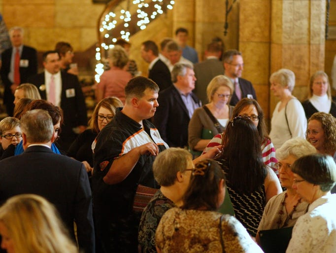 People enjoy the social hour before the start of the Best of Mid-Valley people's choice, at the Historic Elsinore Theatre, on Thursday, May 1, 2014.