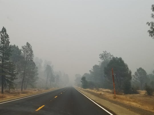 Highway 299 in Trinity County west of Weaverville during the Helena Fire.