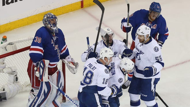 The Lightning did plenty of celebrating Monday night at Madison Square Garden. Game 3 is Wednesday in St. Petersburg, Florida.