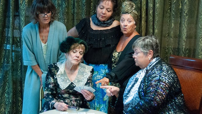 "Barn Theatre's ""Waiting in the Wings"" cast members from left:   Kristal Eckhardt, Maggie Frazer, Gladys Soler, Linda Rosenfeld, and Joyce Milligan."