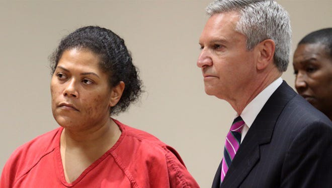Judge Leticia Astacio of Rochester City Court, left, accompanied by her lawyer, Ed Fiandach, is denied her freedom June 7, 2017, before Ontario County Judge William Kocher, who had come to Rochester, N.Y., for this hearing.