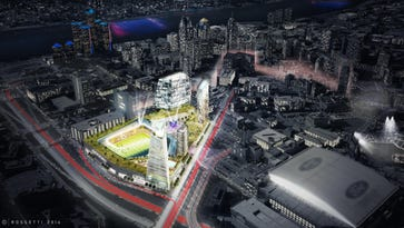 Dan Gilbert has unveiled a plan that will transform the stalled Wayne County jail project at Gratiot near Interstate 375 into a Major League Soccer facility.
