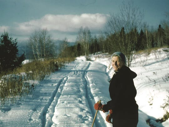 Baroness Maria von Trapp skiing the Sugar Road trail in the early days of the Trapp Family Lodge Cross-Country Ski Center.