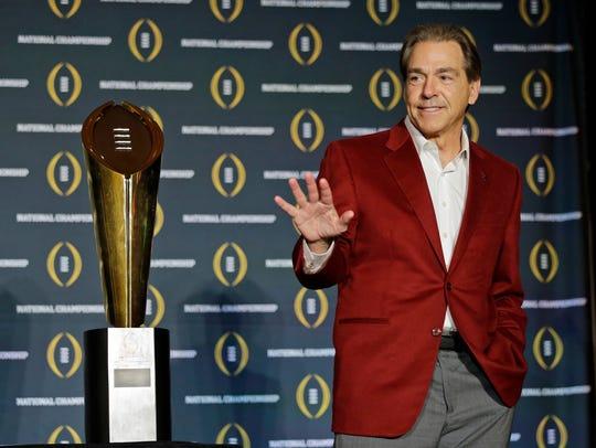 In this Jan. 12, 2016, file photo, Alabama head coach