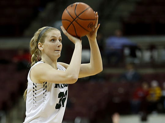 Mason guard Sammie Puisis hits for three against Pickerington Central during their Division I semifinal at Jerome Schottenstein Center in Columbus Friday, March 16, 2018.