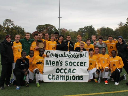 Playing in the final regular season game with the Ohio Community College Athletic Conference title on the line, Cincinnati State men?s soccer team defeats Owens Community College 3-0 for the title. In back, from left, are head coach Mike Combs, Brad Schluter, Austin Klueh of Loveland, Evan Cranfield, Liam Doyle, Mike Anthony, Grant Geigle, Andre Brown, Brad Gale, Kevin Walker of Colerain Township, Billy Whitcomb, Austin Root of Colerain Township, Brandon Isaacs, Summit Country Day grad Ryan Hall, Christian Reed and assistant coach Mike Brizzi. In front are Okama Thompson, Aden Abdirahman, Winton Woods product Francis Gyau, Highlands grad Tucker Beerman, Kyle Grothaus of Milford, David Elwer, Vonne Byrd and Trae Collins.  Thanks to Nick Novy Playing in the final game of the regular season with the Ohio Community College Athletic Conference title on the line, Cincinnati State defeats Owens Community College 3-0 for the conference title. In back, from left, are Head Coach Mike Combs, Brad Schluter, Austin Klueh of Loveland, Evan Cranfield, Liam Doyle, Mike Anthony, Grant Geigle, Andre Brown, Brad Gale, Kevin Walker of Colerain Township, Billy Whitcomb, Austin Root of Colerain Township, Brandon Isaacs, Summit Country Day grad Ryan Hall, Christian Reed and Assistant Coach Mike Brizzi. In front are Okama Thompson, Aden Abdirahman, Winton Woods product Francis Gyau, Highlands grad Tucker Beerman, Kyle Grothaus of Milford, David Elwer, Vonne Byrd and Trae Collins.