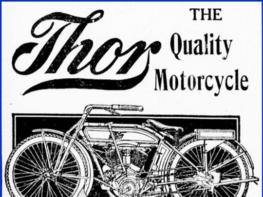Illustrations of the two cylinder Indian and Thor motorcycles