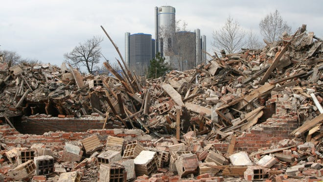 The Somerset Apartments, abandoned for several years, were torn down in early April 2014 after a suspicious fire.